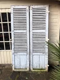 1 pair of vintage wooden window door shutters antique french reclaimed