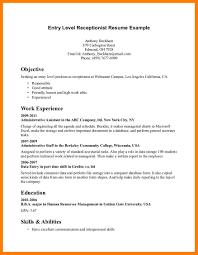 Receptionist Resume Objective Examples Of Resumes Entry Level