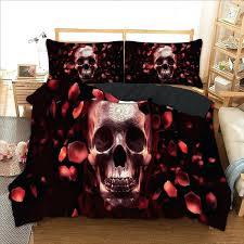 red velvet bedding skull bed linen set twin full queen king single super king bedding set