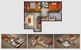 Basement Design Plans Beauteous House Rendered Plan And Three Isometric Section Views Of A Finished
