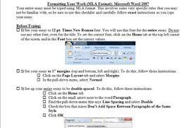 Mla Formatting Instructions Mla Formatting Instructions Checklist For Essays Microsoft Word 2007