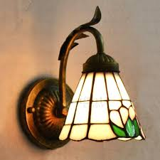 stained glass sconces attractive wall bronze wrought iron fixture candle