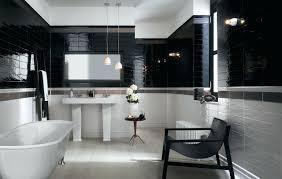 Tiles : Contemporary Bathroom Black Tiled Walls Large Bath Tub ...