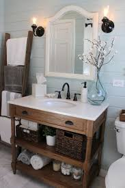 decoration bathroom sinks ideas: chic impression on bathroom with wooden cabinet and shelf with white solid countertop and sink