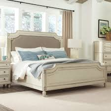 Huntleigh Wood Upholstered Panel Bed in Vintage White Humble Abode