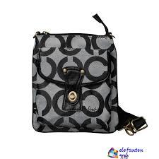 Grey Coach Turnlock Signature Small Crossbody Bags