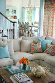 Orange Living Rooms Orange And Aqua Blue Coastal Living Room Jenna Buck Gross Hgtv