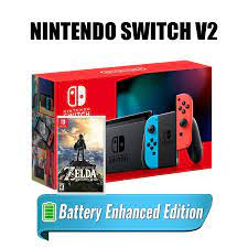 Máy Chơi Game Nintendo Switch V2 Mới + 1 Game Nintendo - The Legend Zelda  Breath Of The Wild Mới