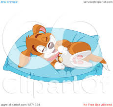 cute pillow clipart. clipart of a cute happy puppy dog resting on comfortable pillow - royalty free vector illustration by pushkin y