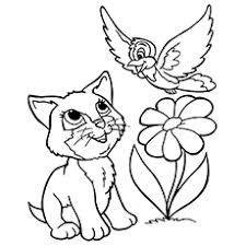 kitten printable coloring pages.  Pages Thekittyplayingwithabird And Kitten Printable Coloring Pages E