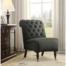 linon home decor cora black fabric roll back accent chair