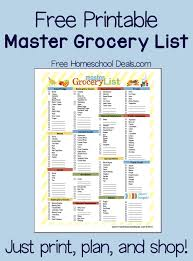 Free Printable Master Grocery List Instant Download Free