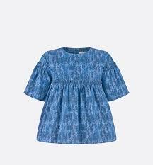<b>Блузка</b> Хлопковый сатин темно-синего цвета с принтом Dior ...