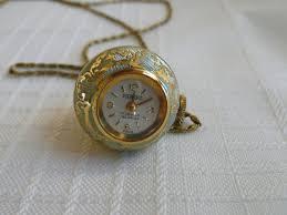 swiss 17 jewels incabloc pierpont ball watch necklace lt blue enamel