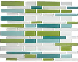 12 x12 teal lime and white linear glass tile blend