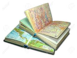 stock photo two old map atlas books isolated over white background