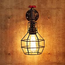 loft industrial iron cage. Loft Style Iron Cage Water Pipe Lamp Edison Wall Sconce Industrial N