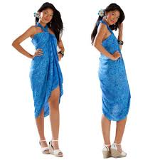 Usps Light Blue Abstract Floral Sarong In Light Blue