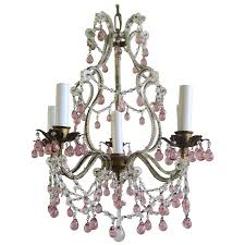 six light crystal beaded chandelier with soft pink drops