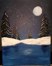 easy acrylic painting ideas moonlit lake
