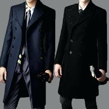 mens wool pea coat with hood luxury winter military trench fashion black men coats