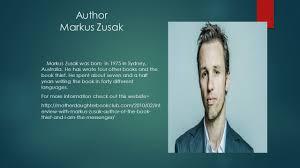 the book thief author markus zusak ppt video online author markus zusak