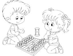 Small Picture Boy and Girl Playing Chess coloring page Free Printable Coloring