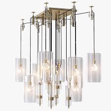 holly hunt counterweight chandelier rectangle 3d model max obj 3ds fbx mtl