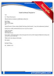 Requesting A Death Certificate Free Printable Death Certificate Request For Form Generic