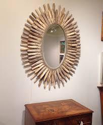 donatella wooden oval mirror