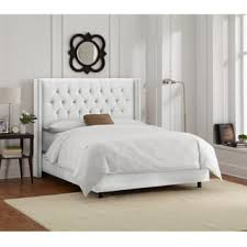 white bed frame.  Bed Shop Skyline Furniture White Velvet Diamond Tufted Wingback Bed Frame  On  Sale Free Shipping Today Overstockcom 11470261 Inside R