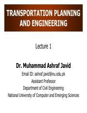 TPE Lecture 1.pdf - TRANSPORTATION PLANNING AND ENGINEERING Lecture ...