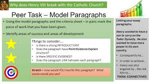 why did henry viii break the catholic church ppt video  why does henry viii break the catholic church peer task model paragraphs using the model paragraphs and the criteria sheet in pairs mark the piece