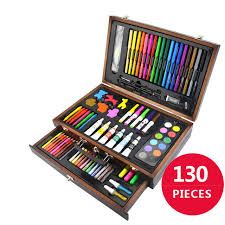130 piecs drawing pencils color pens crayons case art painting set for children kids with wooden