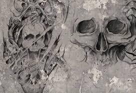Tattoo Art2 Biomechanical Demons Over Grey Background Sketch