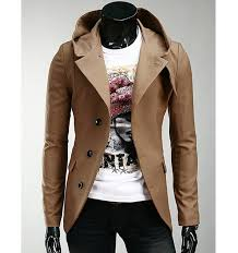 korean style hooded solid color single ted long sleeves polyester coat for men in camel 2xl sammydress com