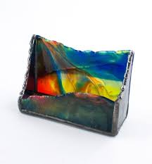 colorful stained glass business card holder by nostalgianmore