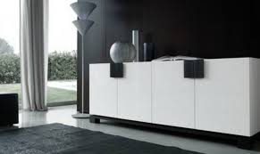 white dining room buffet. Black Wall Color And White Buffet For Modern Dining Room Plan With Ceramic Floor Ideas