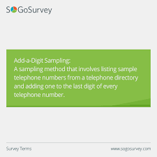 Telephone Directory Sample Survey Terms Add A Digit Sampling A Sampling Method That