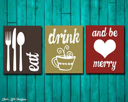 eat drink and be merry kitchen decor dining room wall art by littlelifedesigns on food and drink wall art with eat drink be merry kitchen decor dining room decor kitchen wall