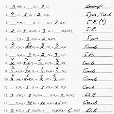 worksheet answer 5 writing and balancing chemical equations worksheet answers worksheets