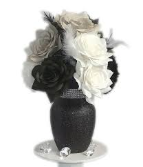 Black and white Centerpiece, Black & white Wedding decor, Fake flower  Decor, Home Decor, bridal shower decor, Silk flowers, Paper Flowers