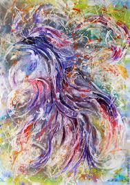 printable paintings abstract bird painting blue bird happiness artist natalya zhdanova
