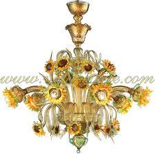 sunflowers amber green murano glass chandelier