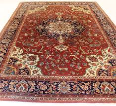 magnificent oriental palace rug tabriz ghom pattern with hunting motif cleaned 230x335cm made in romania circa 1970