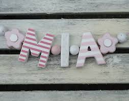 mia pink wooden letters baby shower nursery name decor personalized shabby