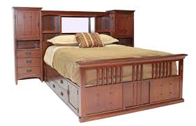 Mission Style Bedroom Furniture San Mateo Oak Mid Wall Queen Bed With Pedestal Beds Bedroom