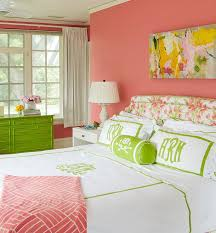 Salmon Pink And Green Girls Bedroom Transitional Girls Room