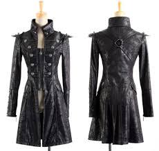 steampunk military coat gothic punk spike epaulette harness leather punkrave men