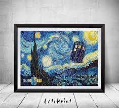 doctor who starry night print tardis print doctor who